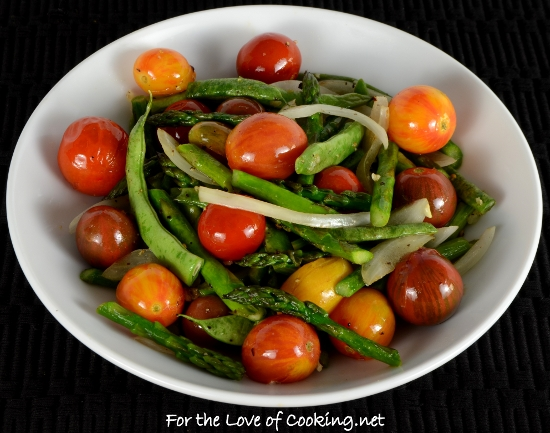 Roasted Heirloom Tomatoes, Asparagus, and Green Beans