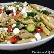 Roasted Veggie Pasta Salad with Lemon and Feta