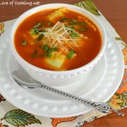 Slow-Roasted Tomato Soup with Cheese Ravioli and Fresh Basil
