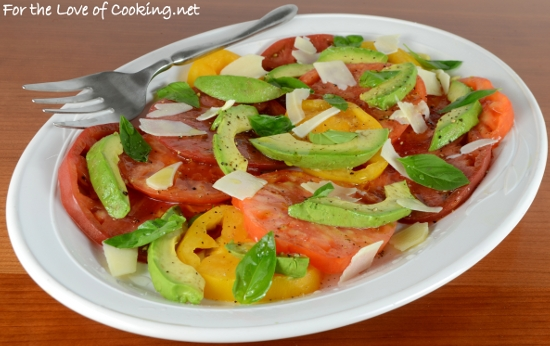 Sliced Heirloom Tomato and Avocado Salad with Basil and Shaved Parmesan