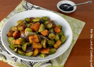 Roasted Brussels Sprouts and Butternut Squash with Dried Cranberries