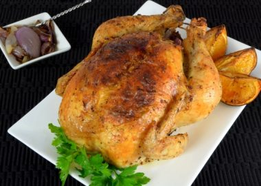 Garlic-Butter Rubbed Chicken with Roasted Oranges and Onions