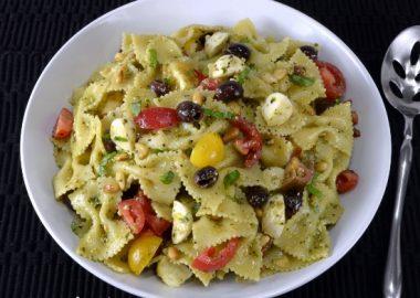 Pesto Pasta Salad with Heirloom Tomatoes, Mozzarella, and Olives