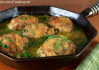 Skillet Chicken with Bacon and White Wine Sauce