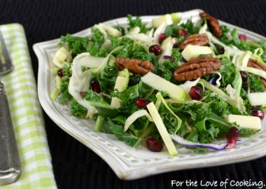 Shaved Kale & Brussels Sprout Salad with Apple, Cheddar, Pecans & Balsamic Vinaigrette