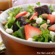 Mixed Greens with Strawberries, Goat Cheese, and Marcona Almonds