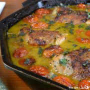 Chicken Thighs with Blistered Tomatoes in a Lemon-Wine Sauce