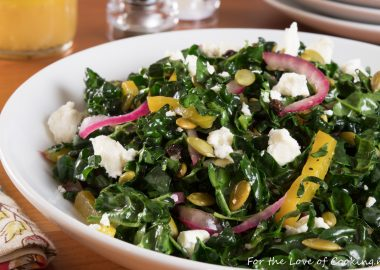 Kale Salad with Roasted Beets, Pepitas, Currants, Pickled Onions & Feta with an Orange Vinaigrette