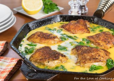 Creamy Lemon Butter Chicken Thighs with Spinach