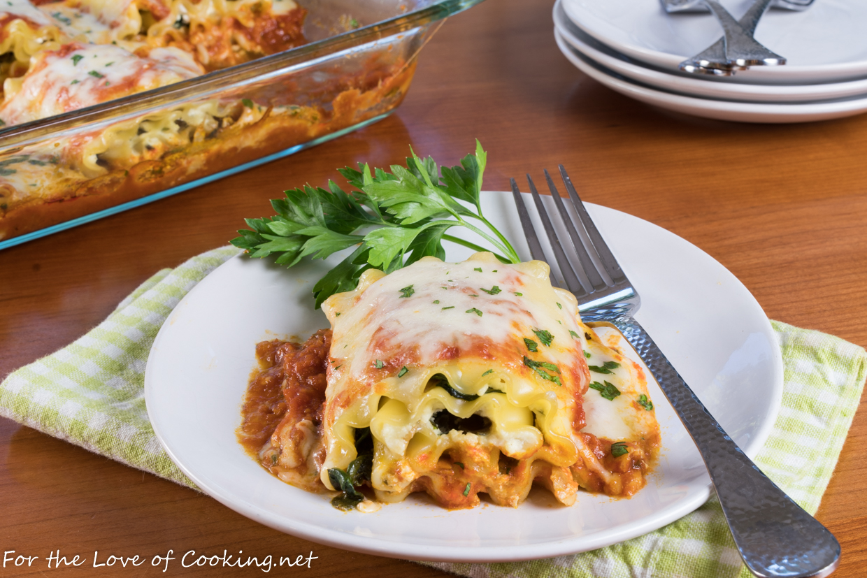 mushroom and spinach lasagna roll ups  for the love of