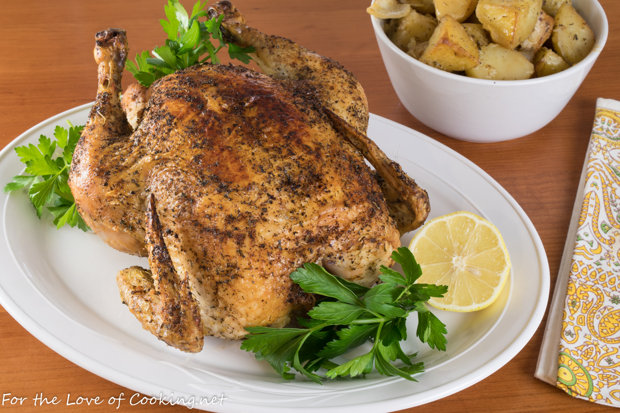 Skillet Whole Roasted Greek Chicken with Potatoes