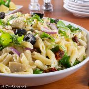 Pasta Salad with Artichoke Hearts, Sun-dried Tomatoes, Olives, and Arugula