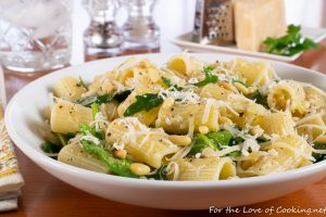 Lemony Rigatoni with Spinach, Arugula, and Pine Nuts