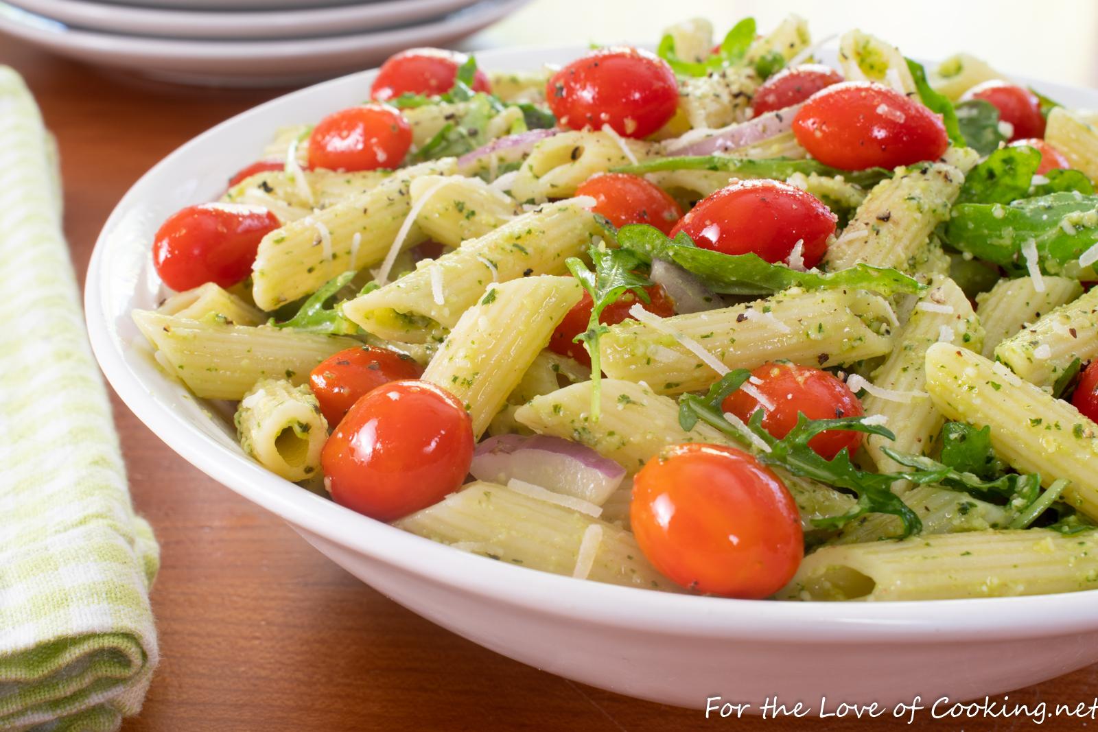 Pasta Salad with Blistered Tomatoes, Arugula, and Pesto