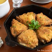Skillet Roasted Chicken Thighs with Pan Gravy