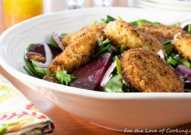Fried Goat Cheese and Roasted Beet Salad with Arugula and Spinach