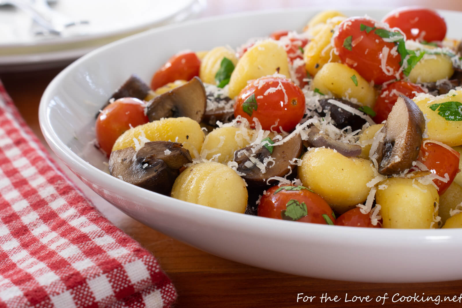 Garlic Butter Gnocchi with Roasted Mushrooms and Tomatoes