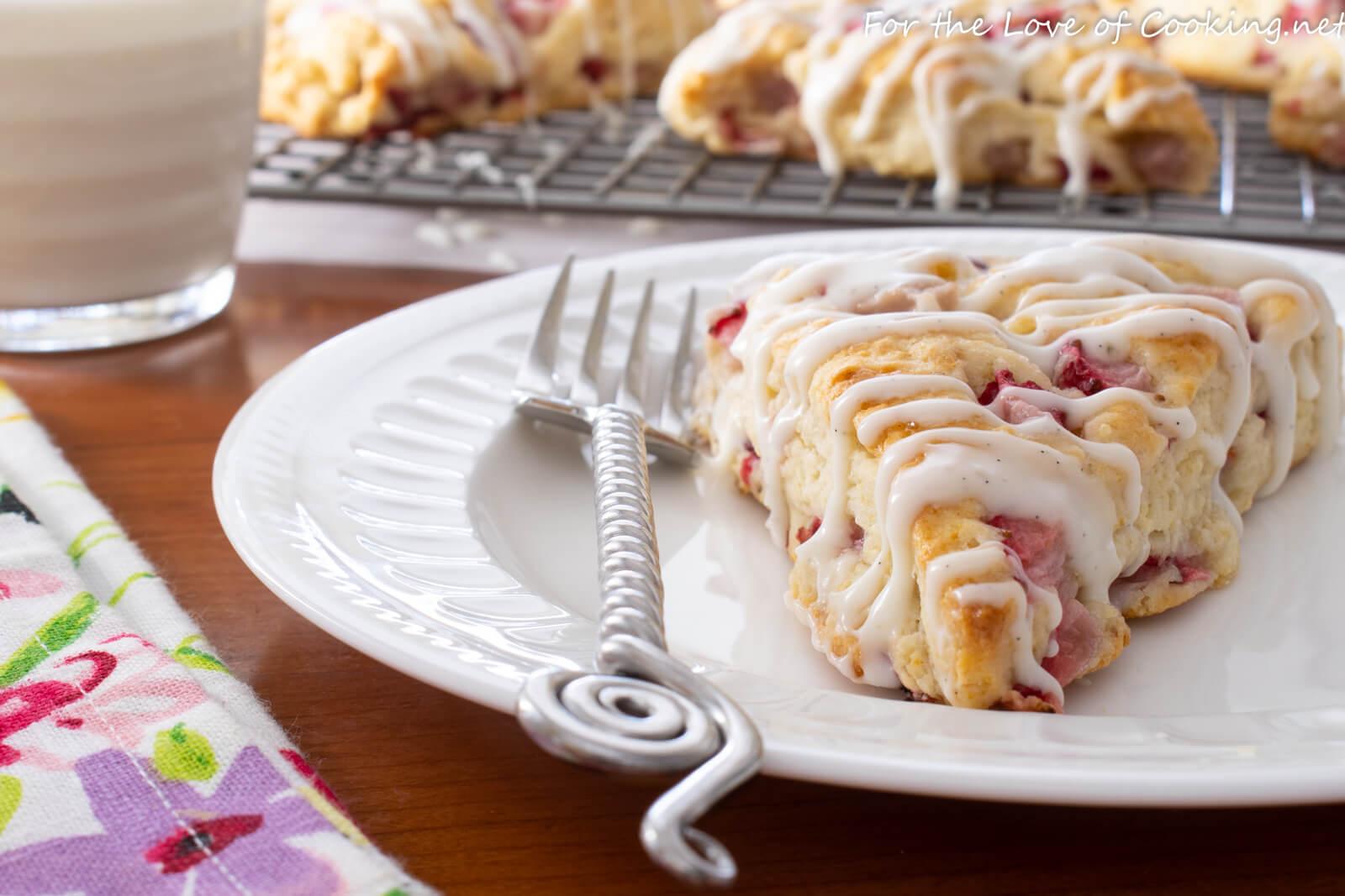 Strawberry Scones with Vanilla Bean Glaze