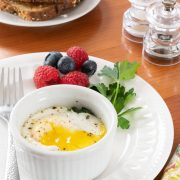Coddled Eggs with Spinach and Bacon