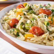 Orzo with Roasted Veggies and Lemon