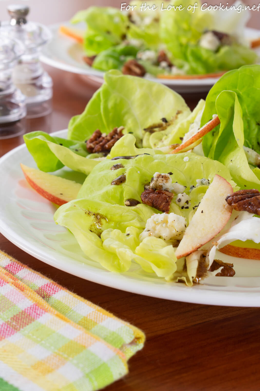 Butter Lettuce with Blue Cheese, Apples and Candied Pecans with a Balsamic Vinaigrette