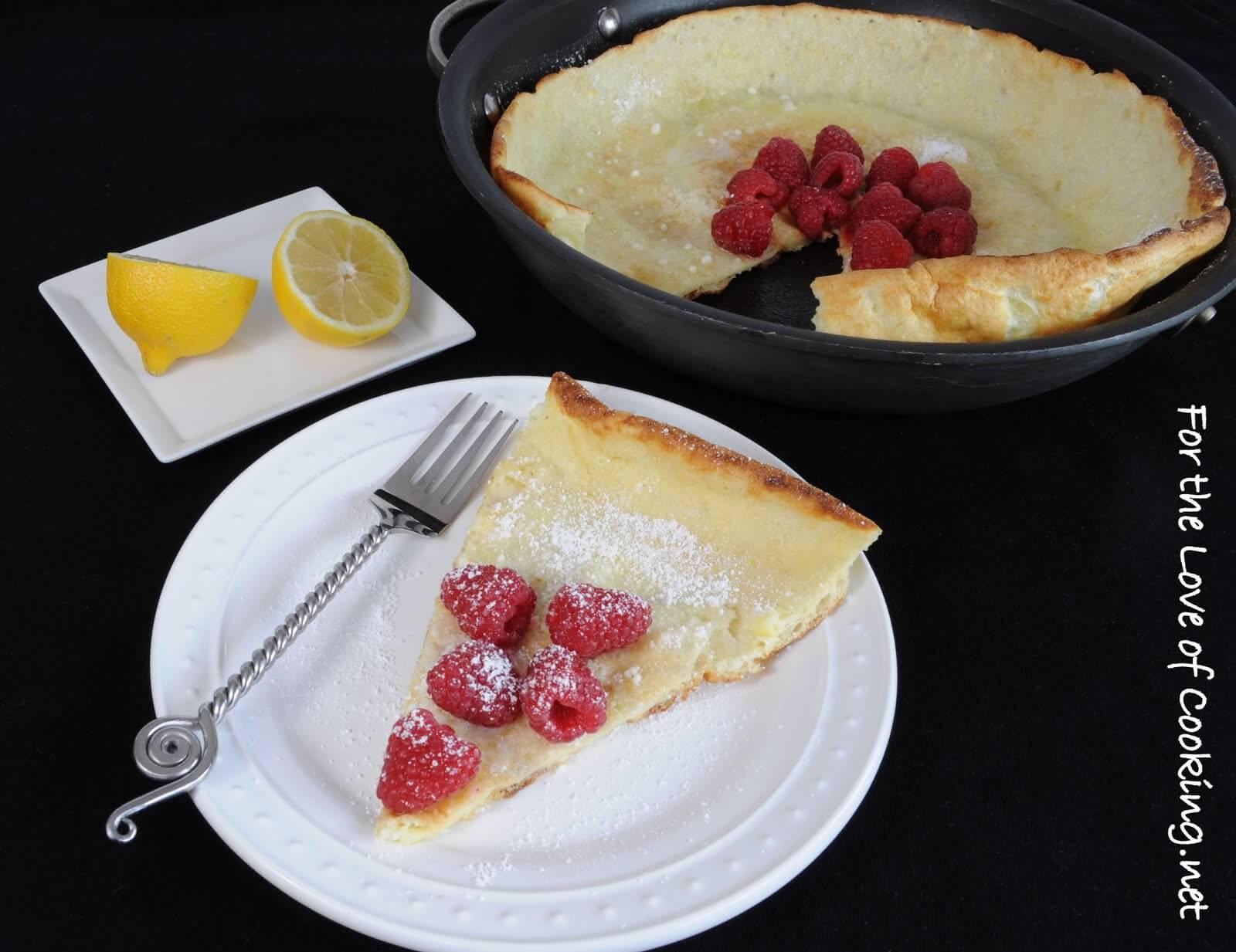 German Pancake with Lemon and Raspberries