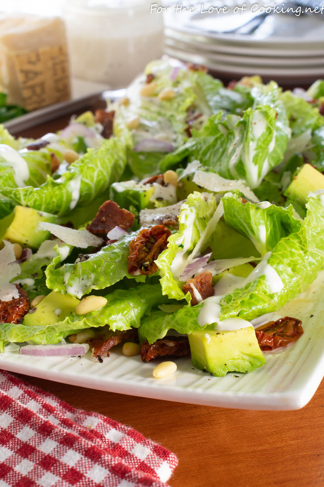Hearts of Romaine Salad with Bacon, Avocado and Sun Dried Tomato