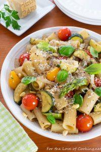 Rigatoni with Zucchini, Tomatoes, Basil and Pine Nuts
