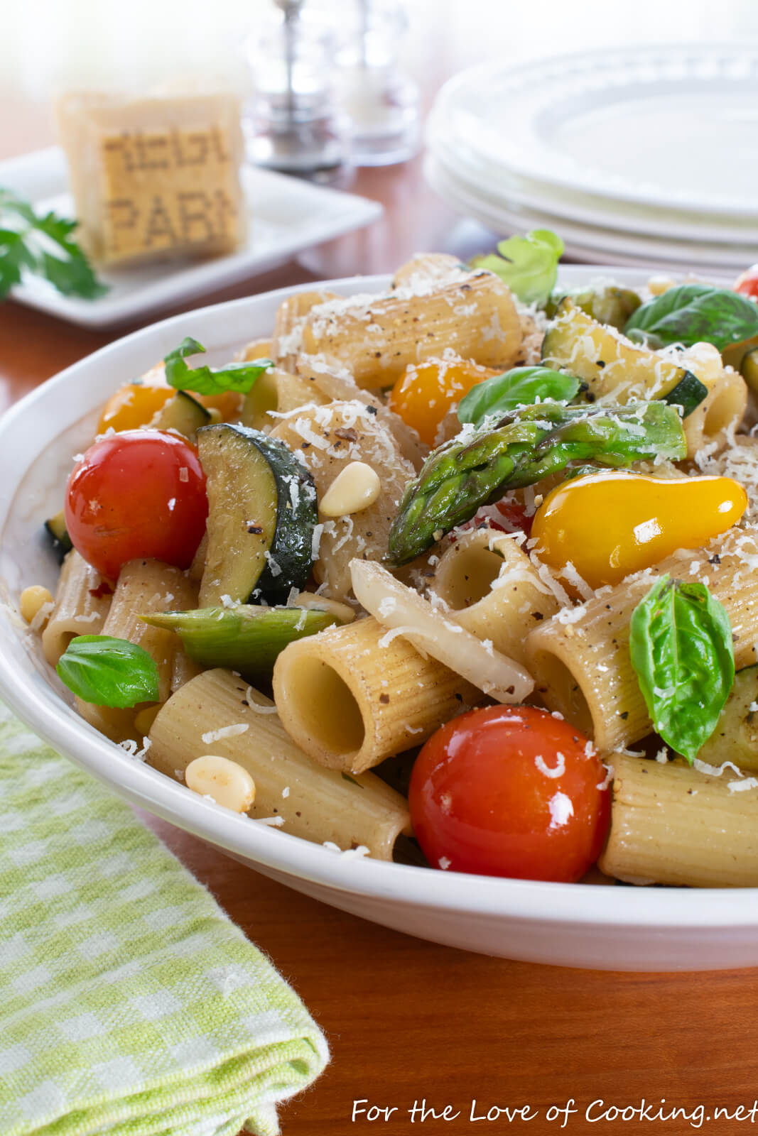Rigatoni with Zucchini, Tomatoes, Basil and Pine Nuts