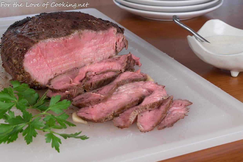 Slow-Roasted Beef with Creamy Horseradish Sauce