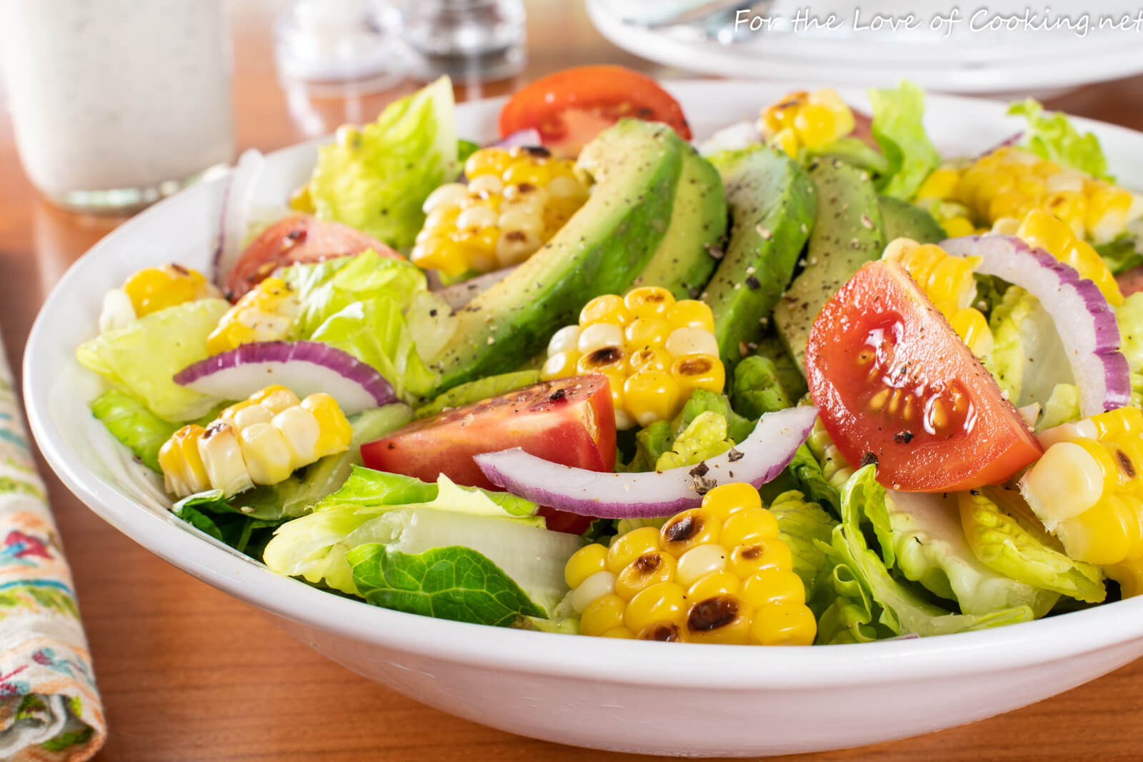 Summer Salad with Grilled Corn, Avocado, & Tomatoes with Buttermilk Ranch Dressing