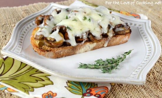 Roasted Mushroom & Swiss on Garlicky Sourdough