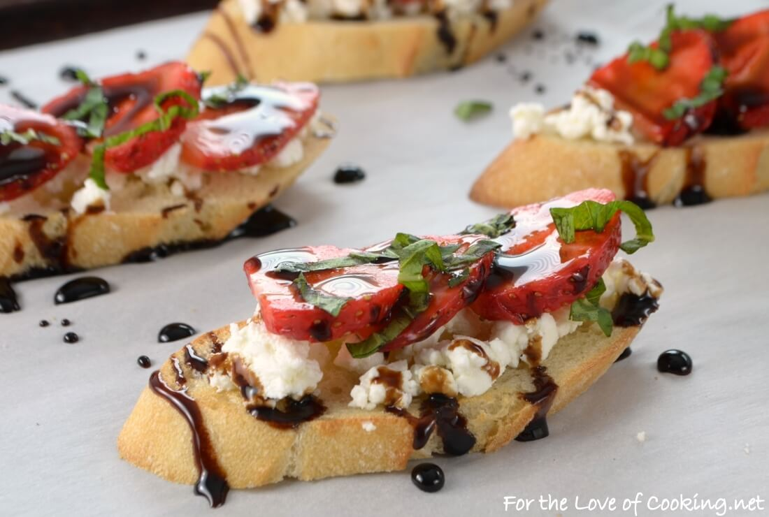 Strawberry and Goat Cheese Bruschetta with Fresh Basil