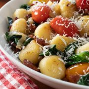 Skillet Gnocchi with Bacon, Tomatoes and Spinach