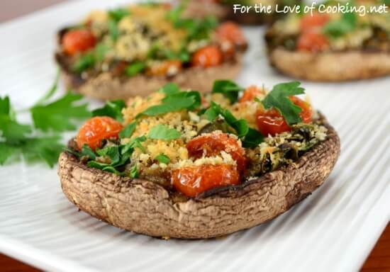 Roasted Portobello Mushrooms Stuffed with Spinach and Tomatoes
