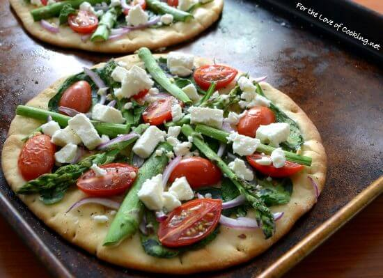 Veggie Flatbread Pizza with Feta Cheese