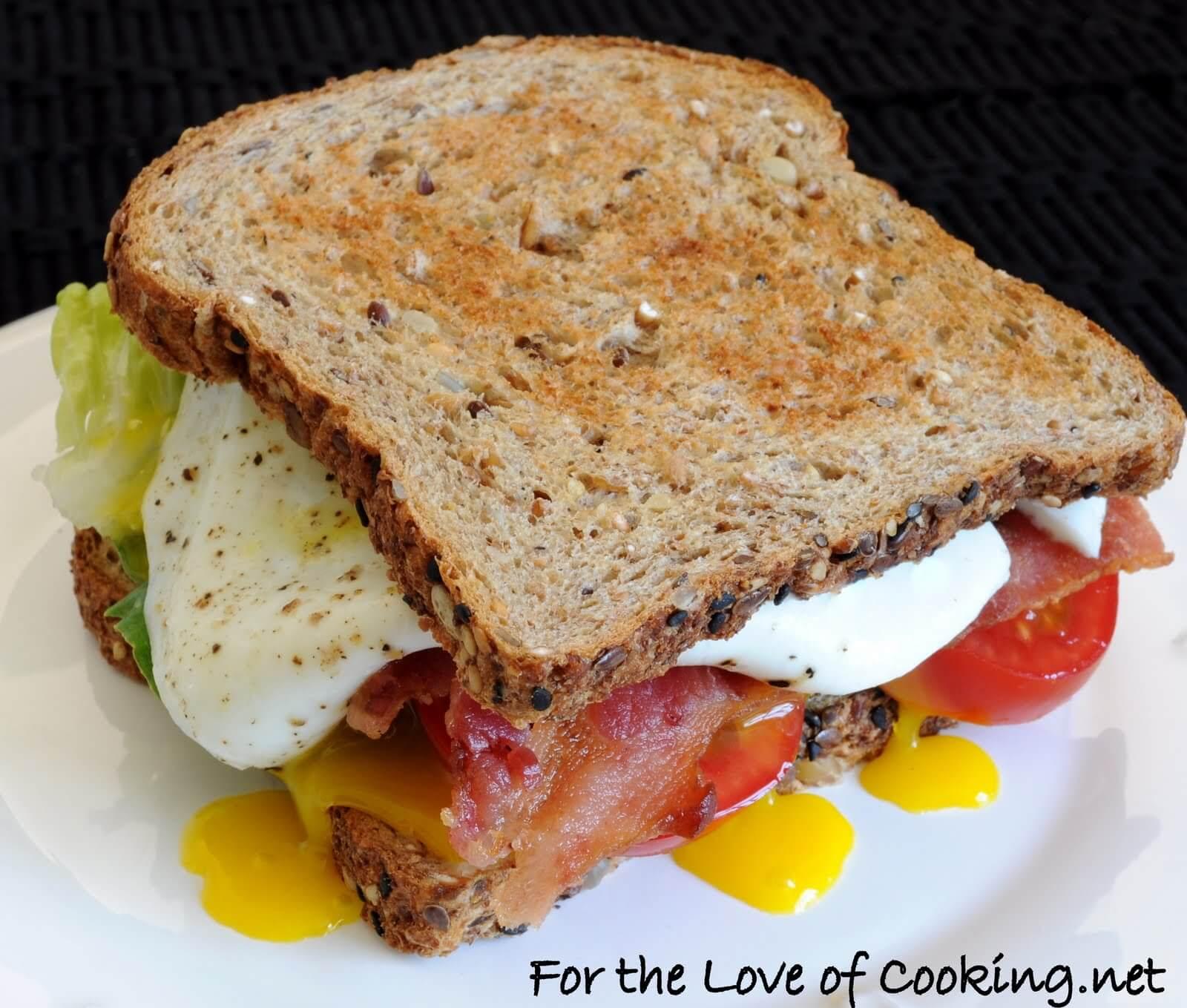B, L, T, A, E (Bacon, Lettuce, Tomato, Avocado, and Egg Sandwich)
