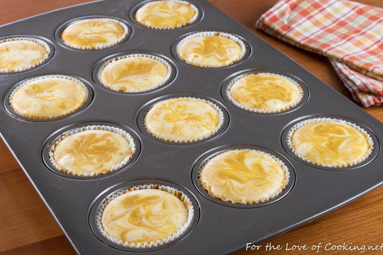 Mini Pumpkin Swirl Cheesecakes with Gingersnap Crust
