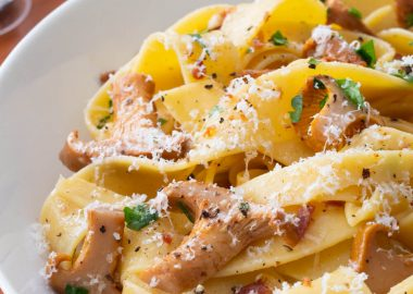 Pappardelle with Chanterelles in a Garlic Butter Wine Sauce