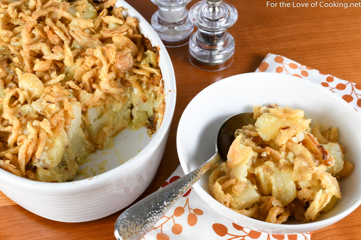 Cheesy Potato Casserole with Caramelized Onions, Gruyere, Bacon, and Crispy Onions