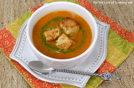 Slow Roasted Tomato Orange Soup with Pesto