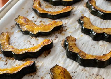 Roasted Acorn Squash with Maple Brown Butter Vinegar Sauce