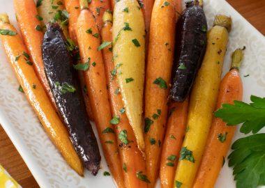 Brown Butter-Maple Glazed Heirloom Carrots