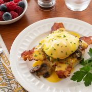 Eggs Benedict with Bacon and Mushrooms