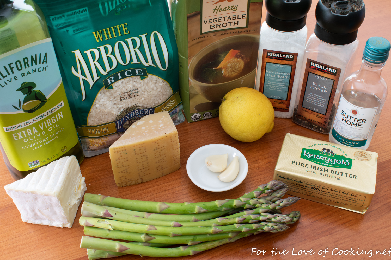 No-Stir Brie Risotto with Lemon Butter Asparagus