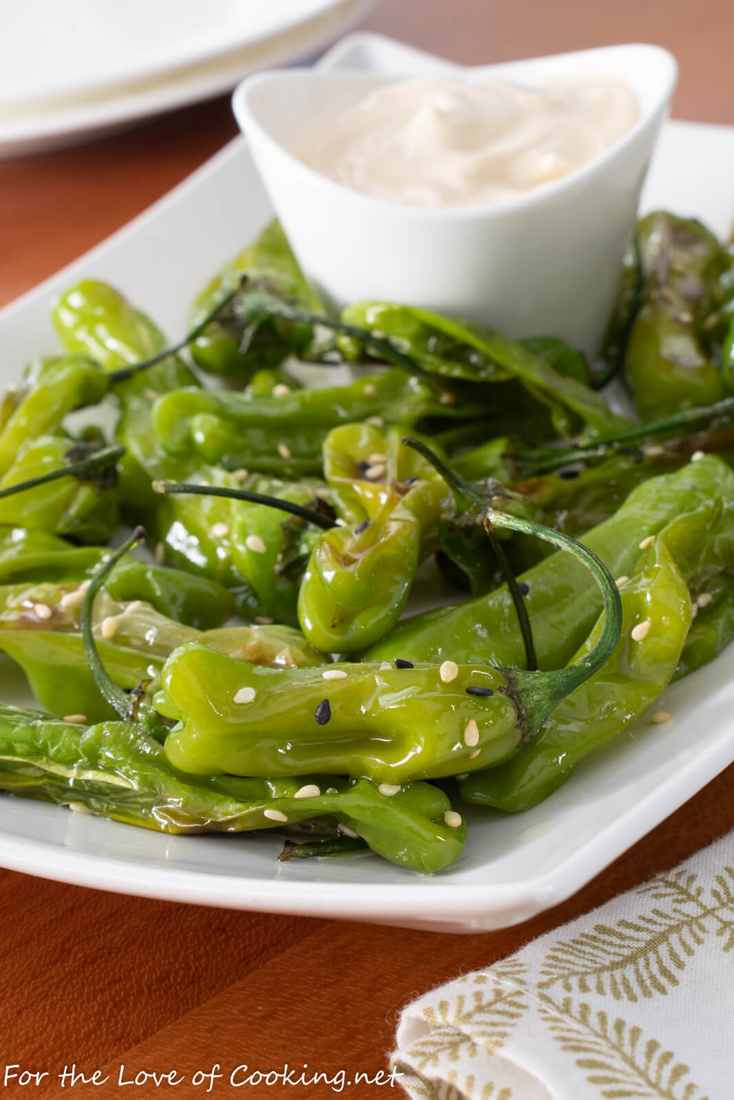 Roasted Sesame Shishito Peppers with Soy Garlic Aioli