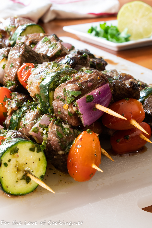 Steak Kebabs with Chimichurri