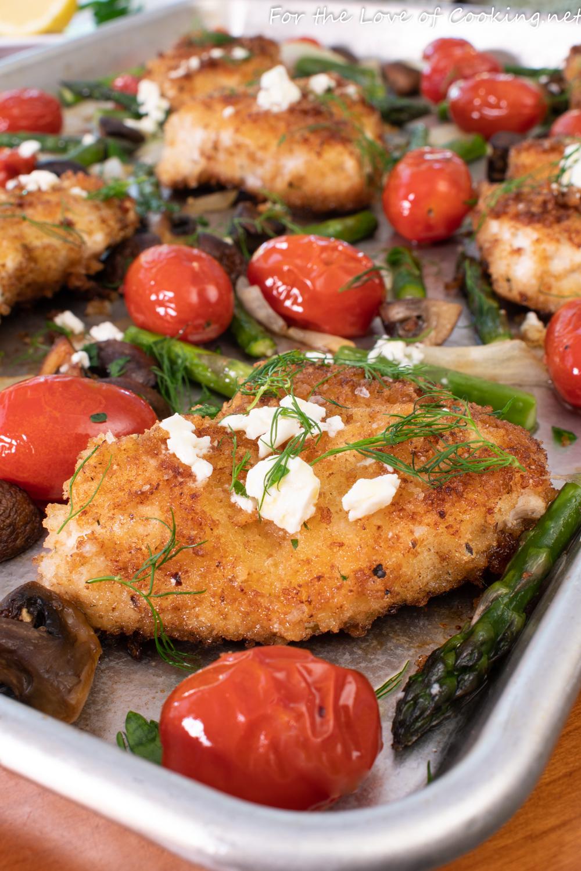 Greek Chicken with Roasted Vegetables & Lemon Feta Vinaigrette