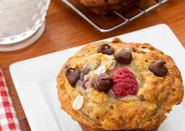 Banana Raspberry Chocolate Chip Muffins