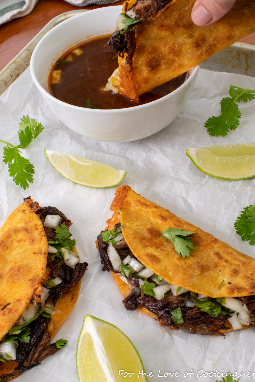 Birria Tacos with Consume